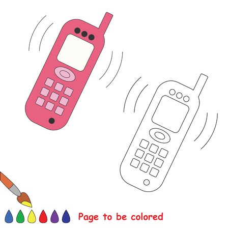 telephone cartoon: Telephone vector cartoon to be colored. Coloring book for children.