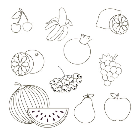 banana sheet: Vector outlined fruit set to be colored. Illustration