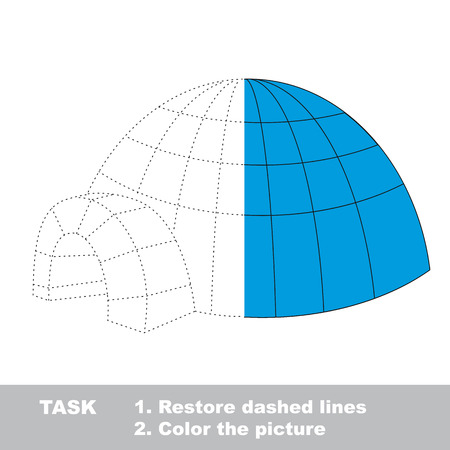 Igloo vector colorful to be traced. Restore dashed line and color the picture. Worksheet to be colored.
