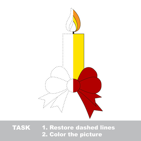 dashed line: Xmas candle with bow vector colorful to be traced. Restore dashed line and color the picture. Worksheet to be colored.