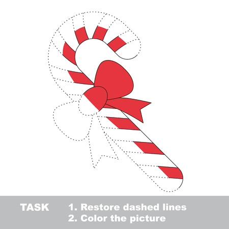 xmas candy cane vector colorful to be traced restore dashed line and color the picture - Candy Canes To Color