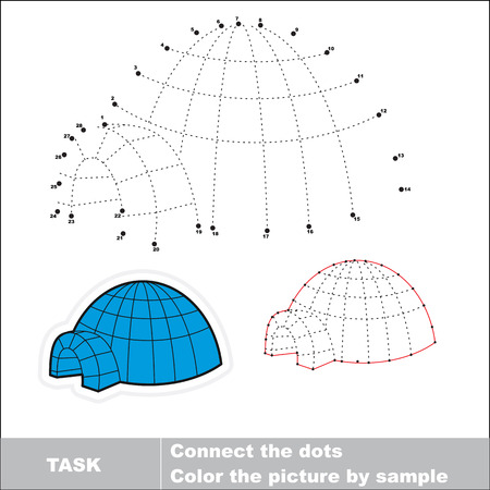 igloo: Igloo to be traced by numbers. Vector dot to dot game. Connect dots for numbers. Illustration
