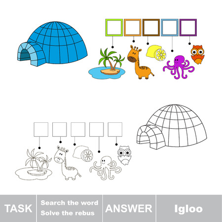 igloo: Vector rebus game. Task and answer. Solve the rebus and find the word Igloo