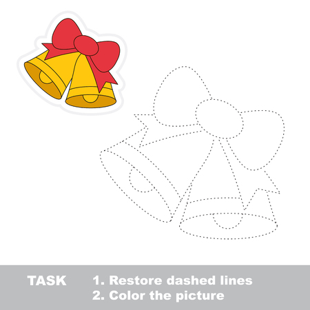 restore: Xmas bells with bow vector to be traced. Restore dashed line and color the picture. Illustration