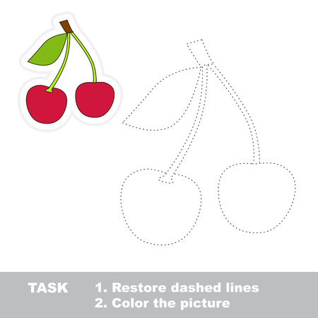restore: Sweet cherry vector to be traced. Restore dashed line and color the picture.