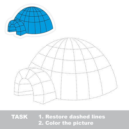 igloo: Igloo vector to be traced. Restore dashed line and color the picture.