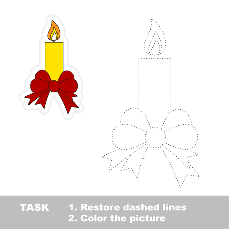 restore: Xmas candle with bow vector to be traced. Restore dashed line and color the picture.