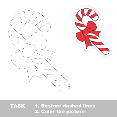 dashed: Xmas candy cane vector to be traced. Restore dashed line and color the picture. Illustration
