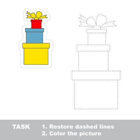 restore: Xmas gifts vector to be traced. Restore dashed line and color the picture. Illustration