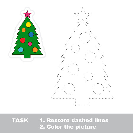 restore: New year tree vector to be traced. Restore dashed line and color the picture.
