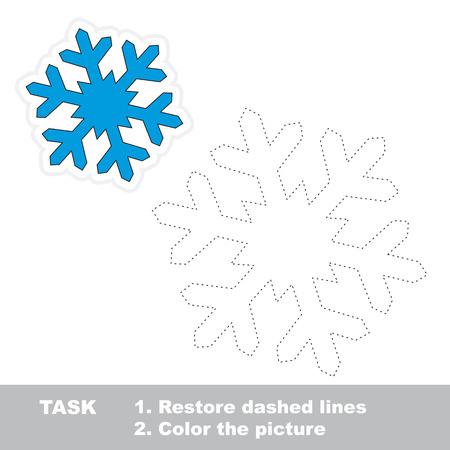 restore: Snowflake vector to be traced. Restore dashed line and color the picture. Illustration