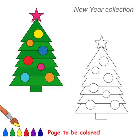Página Para Colorear Esquema De Los Niños Decorar El árbol De ...
