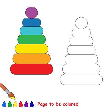 Stacking toy in vector cartoon to be colored. Coloring book for children. Illustration