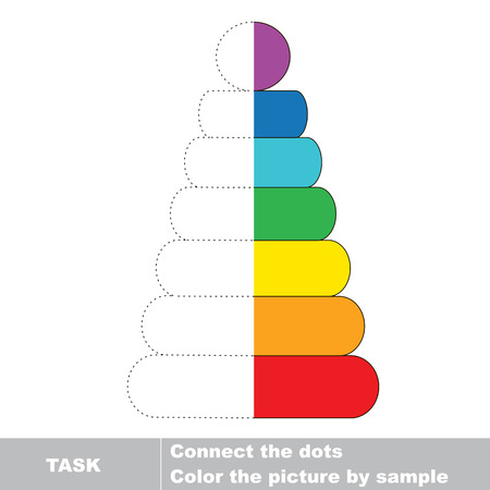 dashed line: Stacking toy  vector colorful to be traced. Restore dashed line and color the picture. Worksheet to be colored. Illustration