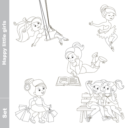 friend  nobody: Happy little girls set colorful in vector. Swinging girl, shopping, reading and dancing little princesses. Two friends make selfie. Coloring book.