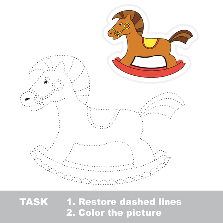 restore: Rocking horse in vector to be traced. Restore dashed line and color the picture. Illustration