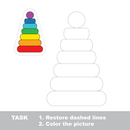 Stacking toy vector to be traced. Restore dashed line and color the picture.