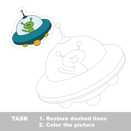 Cartoon ufo toy in vector to be traced. Restore dashed line and color the picture.