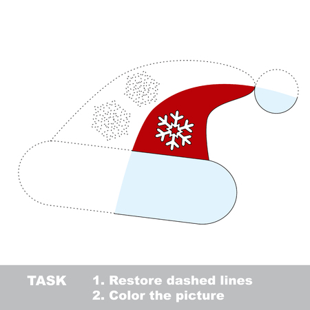 dashed line: Christmas hat in vector colorful to be traced. Restore dashed line and color the picture. Worksheet to be colored.