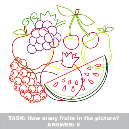 jumble: Fruit mishmash colorful set in vector. Find all hidden objects on the picture. Illustration