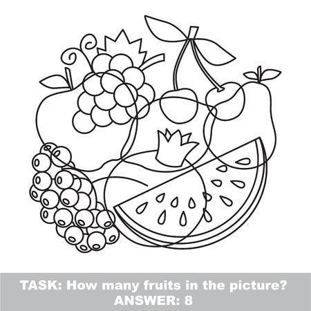 mishmash: Fruit mishmash set in vector outlined to be colored.  Find all hidden objects on the picture.