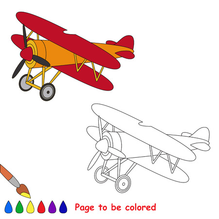 biplane: Biplane in vector cartoon to be colored. Coloring book for children.