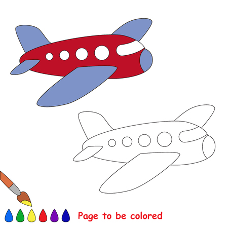 Airplane in vector cartoon to be colored. Coloring book for children.