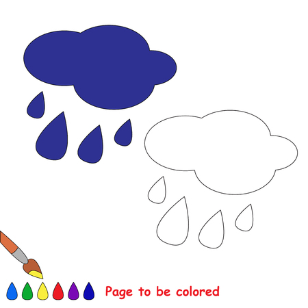 coloring sheets: Rain in vector cartoon to be colored. Coloring book for children.