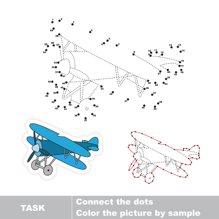 biplane: Biplane in vector to be traced by numbers. Vector dot to dot game. Connect dots for numbers. Illustration