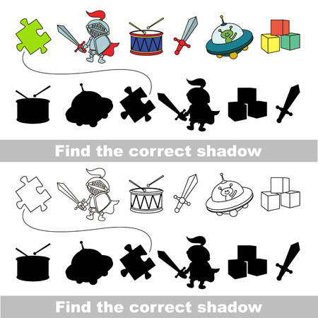 Boy toy set with shadows to find the correct one. Compare and connect objects.