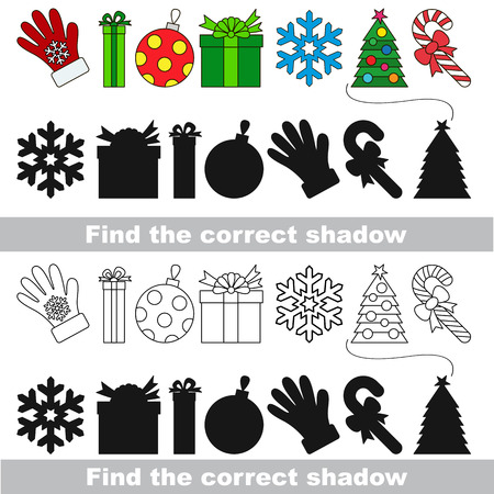 New year set with shadows to find the correct one. Compare and connect objects. Illustration