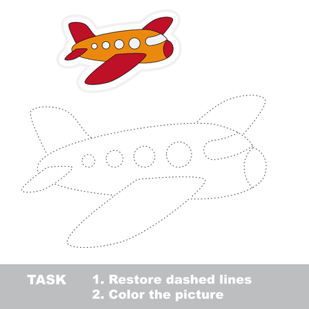 dashed: Airplane in vector to be traced. Restore dashed line and color the picture.