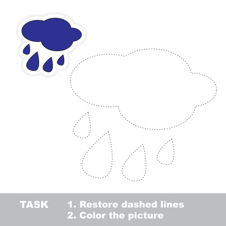 dashed: Rain in vector to be traced. Restore dashed line and color the picture.