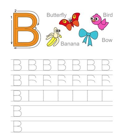 illustrated: Vector exercise illustrated alphabet. Learn handwriting. Tracing worksheet for letter B. Illustration