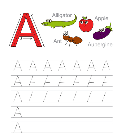learning: Vector exercise illustrated alphabet. Learn handwriting. Tracing worksheet for letter A.