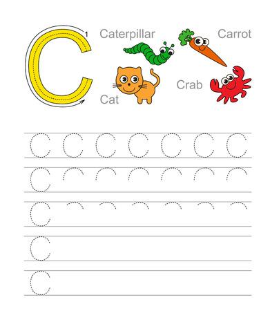 aprendizaje: Ejercicio Vector ilustrado alfabeto. Aprenda escritura. Rastreo de hoja de cálculo para la letra C.