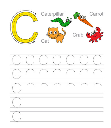 learning language: Vector exercise illustrated alphabet. Learn handwriting. Tracing worksheet for letter C.