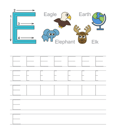 illustrated: Vector exercise illustrated alphabet. Learn handwriting. Tracing worksheet for letter E.