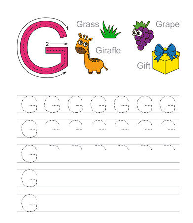 illustrated: Vector exercise illustrated alphabet. Learn handwriting. Tracing worksheet for letter G.