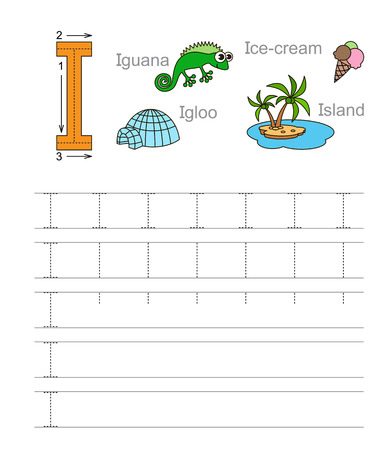 Vector exercise illustrated alphabet. Learn handwriting. Tracing worksheet for letter i. Page to be colored. Ilustração