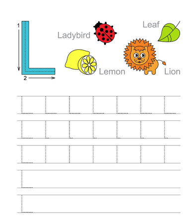 illustrated: Vector exercise illustrated alphabet. Learn handwriting. Tracing worksheet for letter L.