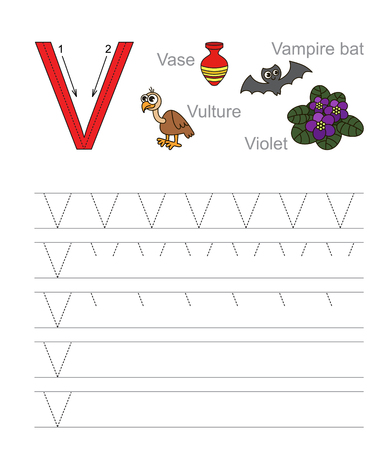 tracing: Vector exercise illustrated alphabet. Learn handwriting. Tracing worksheet for letter V. Illustration