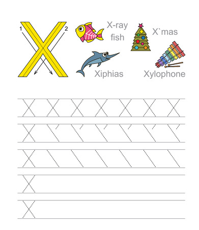 ray tracing: Vector exercise illustrated alphabet. Learn handwriting. Tracing worksheet for letter X. Illustration