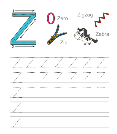 illustrated: Vector exercise illustrated alphabet. Learn handwriting. Tracing worksheet for letter Z. Illustration