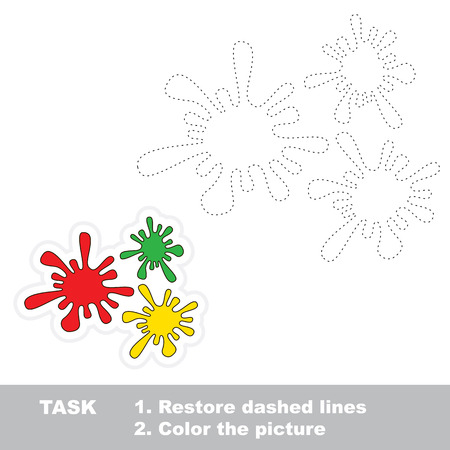 restore: Coloful blots in vector to be traced. Restore dashed line and color the picture.