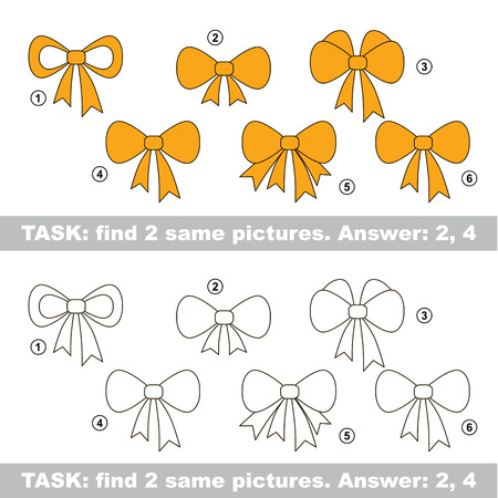 similar: Design different, color equal.  Vector visual game. Task and answer. Find two similar Bow