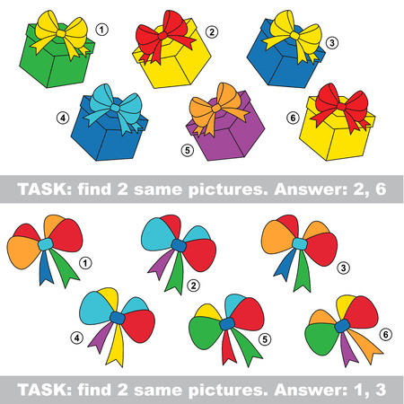similar: Design equal, color different. Visual vector game. Task and answer. Find two similar Bow and Gift