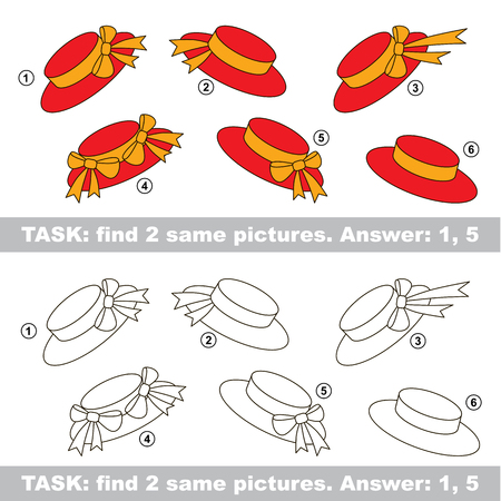 similar: Design different, color equal.  Vector visual game. Task and answer. Find two similar Hat
