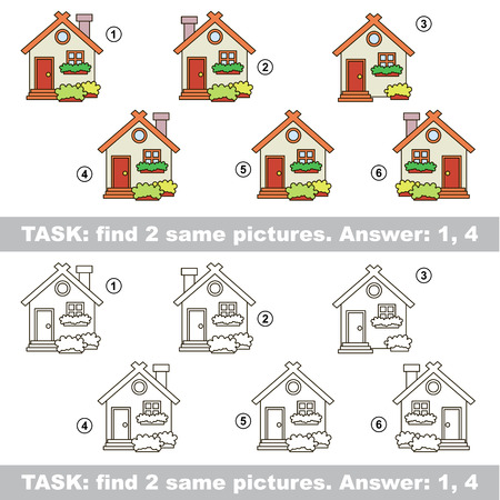 similar: Design different, color equal.  Vector visual game. Task and answer. Find two similar House