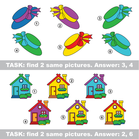 Design equal, color different. Visual vector game. Task and answer. Find two similar Gift and House Illustration